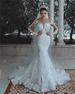 White Long Sleeves Lace Beaded Wedding Dresses,Mermaid Bridal Dresses - EVERISA
