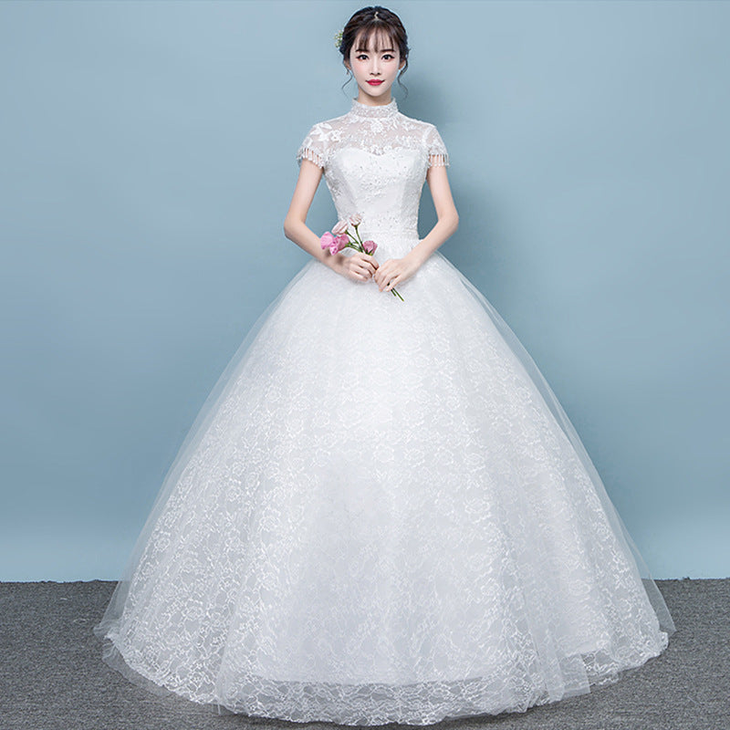 3b19ba43b9a9c White High Neck Short Sleeves Lace Wedding Dresses,A Line Bridal Gown -  EVERISA