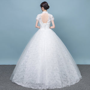 White High Neck Short Sleeves Lace Wedding Dresses,A Line Bridal Gown - EVERISA