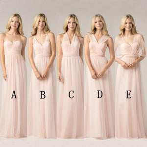 New Different Style Pink Sweetheart Sleeveless Chiffon Prom Dress Bridesmaid Dresses