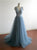 Blue V Neck Sleeveless A Line Prom Dresses,Tulle Graduation Dresses - EVERISA