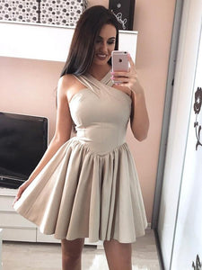 A Line Sleeveless Satin Homecoming Dresses, Short Cocktail Dresses - EVERISA