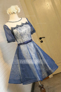 Blue Short Sleeves Lace Homecoming Dresses,A Line Short Cocktail Dress - EVERISA