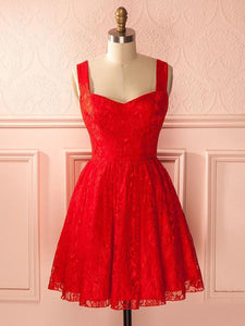 Red Sleeveless Lace Short Homecoming Dresses,A Line Cocktail Dresses