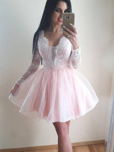Long Sleeves Lace Homecoming Dresses,A Line Short Cocktail Dresses