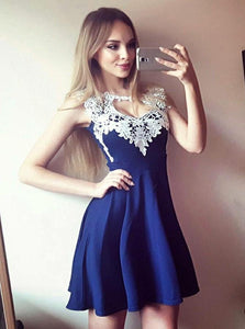Royal Blue Sleeveless Homecoming Dresses,Lace Applique Cocktail Dress