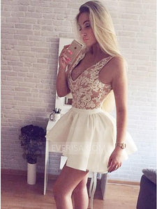V Neck Sleeveless Lace Satin Over Skirts Detachable Homecoming Dresses