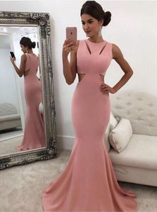 Pink Sleeveless Cut Out Satin Prom Dresses,Mermaid Formal Dresses