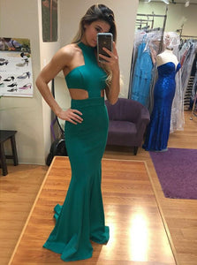 Green Sleeveless Cut Out Satin Prom Dresses,Mermaid Graduation Dresses - EVERISA