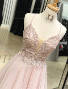 Spaghetti Straps Sleeveless Lace Prom Dresses,A Line Evening Dresses