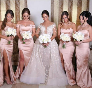 Sexy Pink Side Slit Sweetheart Satin Prom Dress Long Bridesmaid Dresses