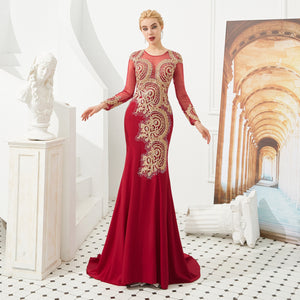 Red Long Sleeve Lace Applique Prom Dresses Mermaid Evening Dress