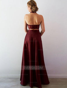 Burgundy Two Pieces Halter Prom Dresses, Side Slit Graduation Dresses