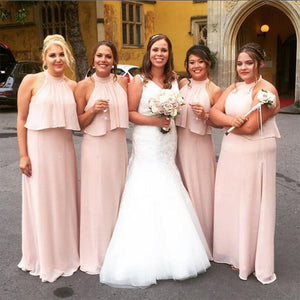 Pink Sleeveless Halter A Line Long Chiffon Bridesmaid Dresses