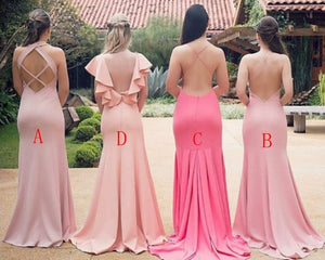 Blush V Neck Sleeveless Cross Back Satin Long Bridesmaid Dresses
