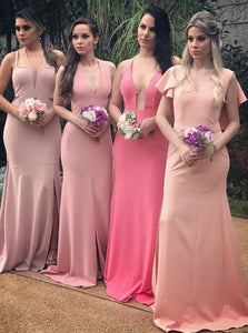 Blush V Neck Sleeveless Cross Back Satin Long Bridesmaid Dresses - EVERISA