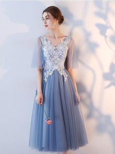 Blue Half Sleeves Lace Appliques Prom Dresses,Tulle Graduation Dresses
