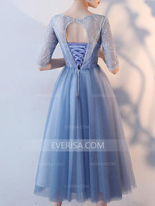Blue Half Sleeves Lace Appliques Prom Dresses,Tulle Graduation Dresses - EVERISA