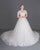 White Short Sleeves A Line Wedding Dresses,Lace Appliques Bridal Gown