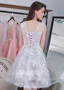 A Line Short Homecoming Dresses,Lace Appliques Cocktail Dresses - EVERISA