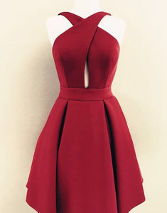 Burgundy Sleeveless Backless Homecoming Dresses,A Line Cocktail Dress - EVERISA
