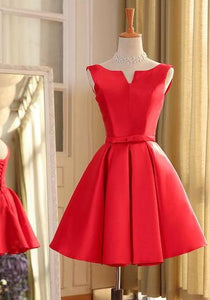 Red Sleeveless A Line Short Homecoming Dresses,Satin Cocktail Dresses