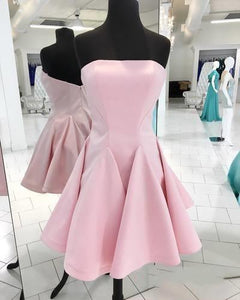 Pink Strapless Backless Homecoming Dresses,A Line Cocktail Dresses