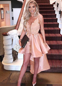 V Neck Sleeveless Lace Homecoming Dresses,High Low Cocktail Dresses
