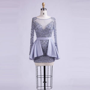 Long Sleeves Beaded Homecoming Dresses,Mini Cocktail Dresses