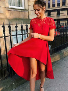 Red Short Sleeves A Line Homecoming Dresses,High Low Prom Dresses