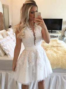 White V Neck Sleeveless Beaded Homecoming Dresses,Lace Cocktail Dress