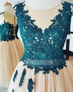 Lace Appliques Sleeveless Homecoming Dresses,A Line Cocktail Dresses - EVERISA