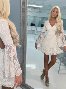 V Neck Bell Sleeves Open Back Homecoming Dresses,Lace Cocktail Dresses