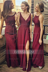 Different Style Burgundy Sleeveless Chiffon Bridesmaid Dress Affordable Evening Dress - EVERISA