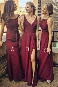 Different Style Burgundy Sleeveless Chiffon Bridesmaid Dress Affordable Evening Dress