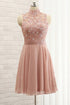 Blush Pink High Neck Sleeveless Homecoming Dresses,Lace Cocktail Dress