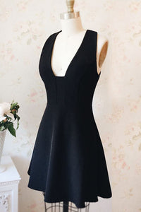 Black V Neck Cross Back Homecoming Dresses,A Line Cocktail Dresses - EVERISA