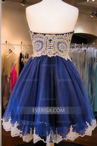 Royal Blue Sleeveless Beaded Homecoming Dresses,A Line Cocktail Dress
