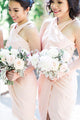 Pink Cross Neck Sleeveless Slim Line Chiffon Bridesmaid Dresses