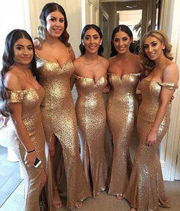 Off Shoulder Sleeveless Mermaid Side Slit Sequins Bridesmaid Dresses