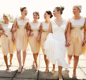 Gold Scoop Neck Sleeveless Sequin A Line Chiffon Bridesmaid Dresses - EVERISA