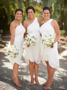 Simple White One Shoulder Sleeveless Short Chiffon Bridesmaid Dresses - EVERISA