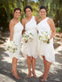 Simple White One Shoulder Sleeveless Short Chiffon Bridesmaid Dresses