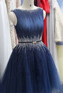 Navy Blue Sleeveless Short Homecoming Dresses,Crystals Cocktail Dress