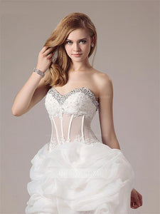 Sweetheart Sleeveless Beaded Wedding Dresses,High Low Bridal Dresses