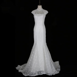 White High Neck Cap Sleeves Lace Wedding Dresses,Mermaid Bridal Gown - EVERISA