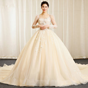 Champagne Long Sleeve Lace Applique Wedding Dresses,A Line Bridal Gown
