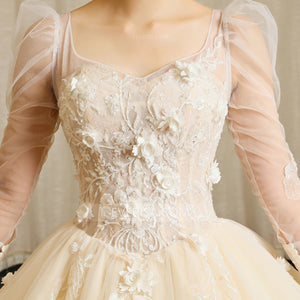 Champagne Long Sleeve Lace Applique Wedding Dresses,A Line Bridal Gown - EVERISA