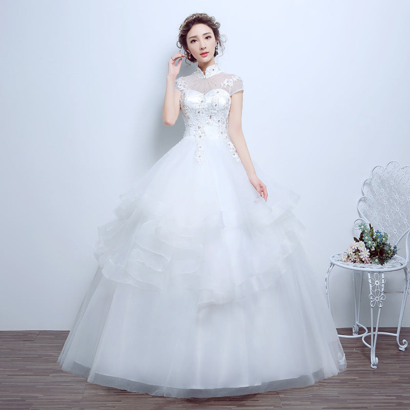 High Neck Short Sleeves Lace Beaded Wedding Dresses Lace Bridal Gown Everisa,Plus Size Dress For Wedding Guest