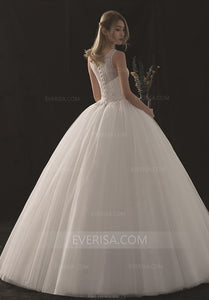 White Sleeveless Lace Beaded Wedding Dresses,A Line Bridal Gowns